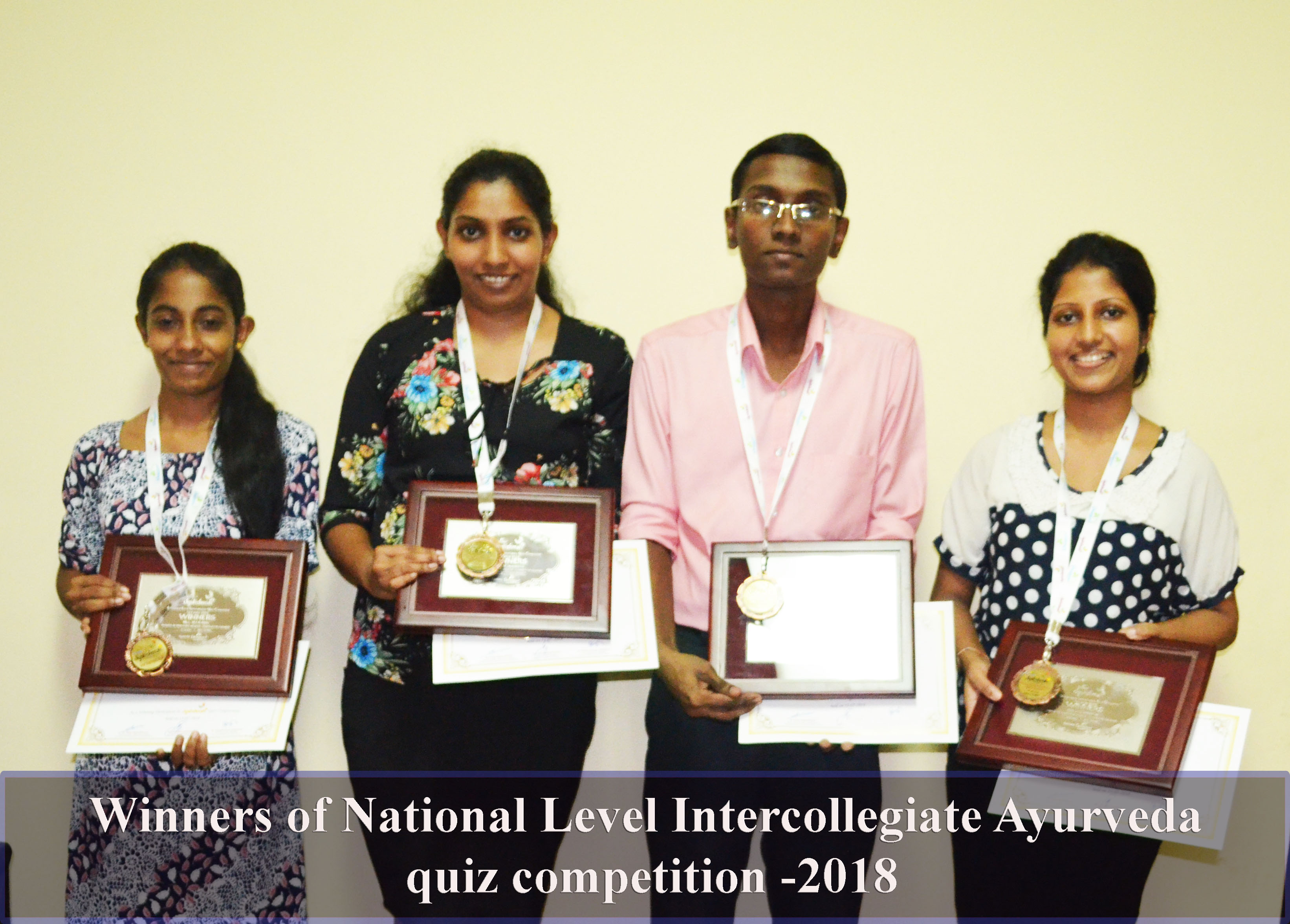 Winners of National Level Intercollegiate Ayurveda quiz competition -2018