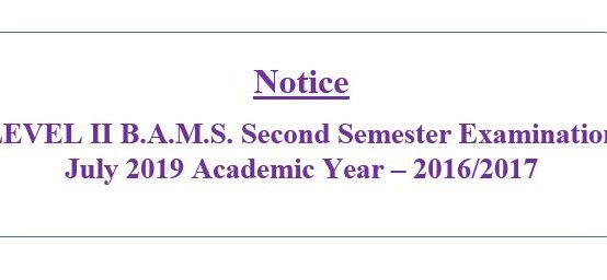 LEVEL II B.A.M.S. Second Semester Examination  July 2019  Academic Year – 2016/2017
