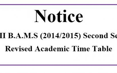 Level III B.A.M.S (2014/2015) Second Semester  Revised Academic Time Table