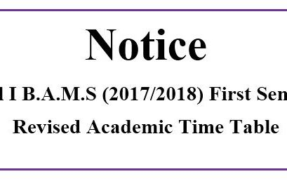 Revised Academic Time Table Level I B.A.M.S(2017/2018) Semester I