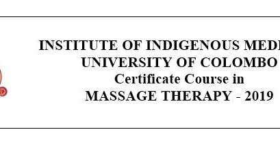 Certificate Course in MASSAGE THERAPY – 2019