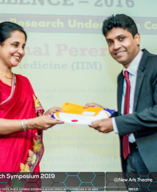 Dr. Pathirage Kamal Perera achieved Senate award for Research Excellence