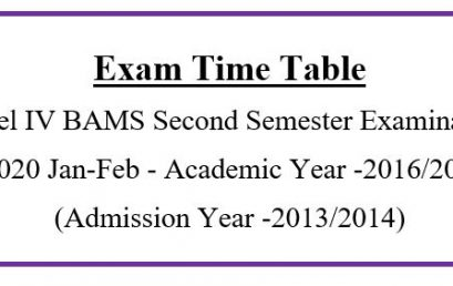 Exam Time Table Level IV BAMS Second Semester Examination -2020 Jan-Feb Academic Year -2016/2017 (Admission Year -2013/2014)