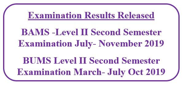 Examination Results Released BAMS/BUMS Level II