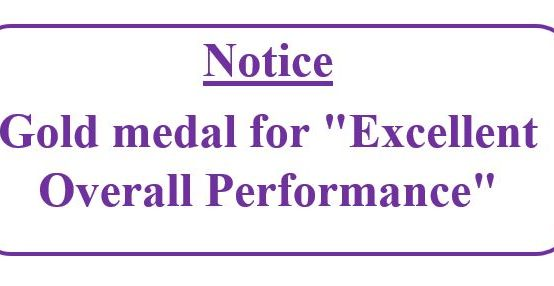 """Gold medal for """"Excellent Overall Performance"""""""
