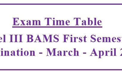 Revised Exam Time Table:Level III BAMS (2015/2016) First Semester Examination – March 2020