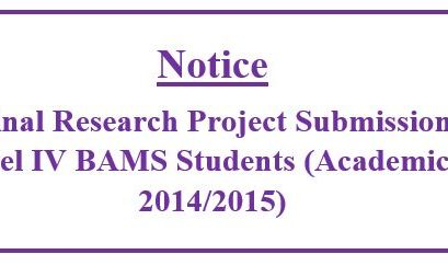 Notice for Level IV BAMS Students (Academic Year 2014/2015)- Final Research Project Submission