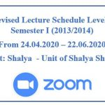 Online Revised Lecture Schedule Level V BAMS (2013/2014) Semester I  Subject: Shalya