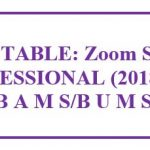 Zoom Session : TIME TABLE:FIRST PROFESSIONAL (2018/2019) Batch B A M S/B U M S