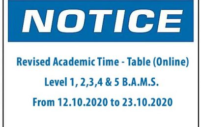 Revised Academic Time – Table (Online) Level 1, 2,3,4 & 5 B.A.M.S.