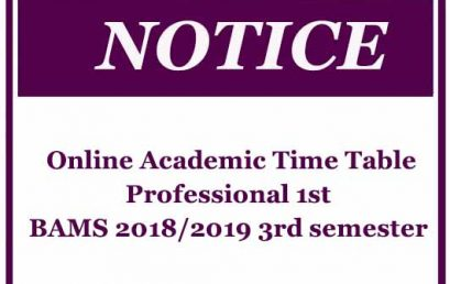 Online Academic Time Table- Professional 1BAMS 2018/2019 3rd semester