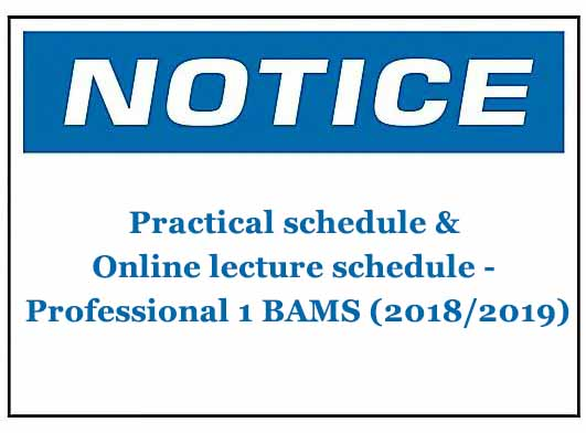 Practical schedule & Online lecture schedule – Professional 1 BAMS (2018/2019)