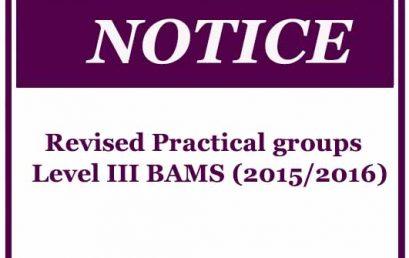 Revised Practical groups : Level III BAMS (2015/2016)