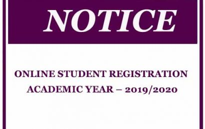 ONLINE STUDENT REGISTRATION ACADEMIC YEAR – 2019/2020