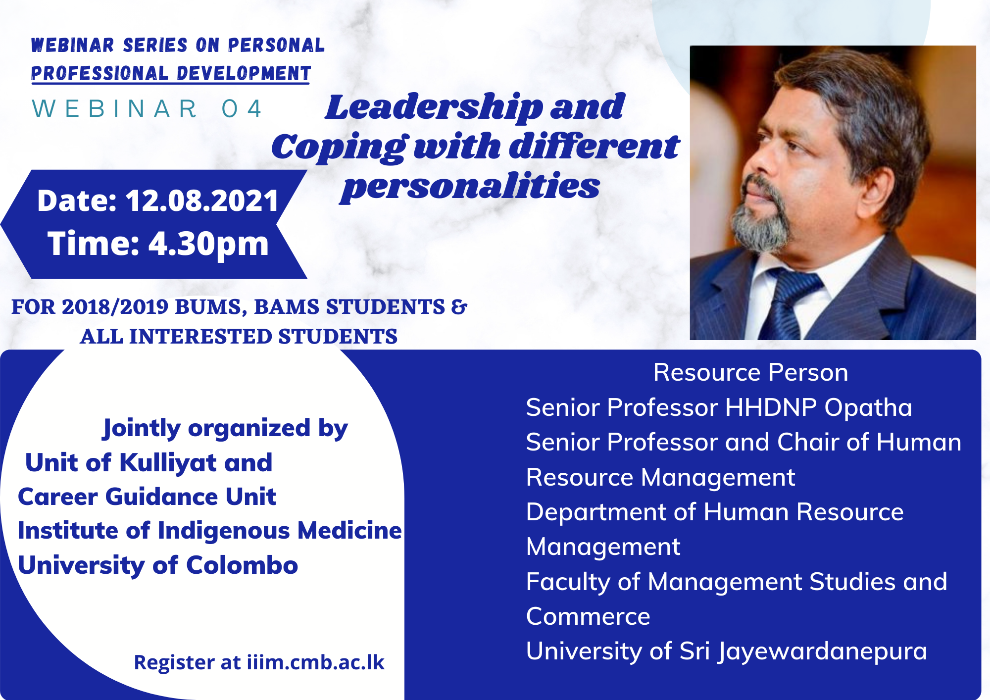 """Webinar : """"Leadership and Coping with Different Personalities"""""""
