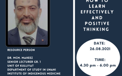 Webinar : How to Learn Effectively and Positive Thinking