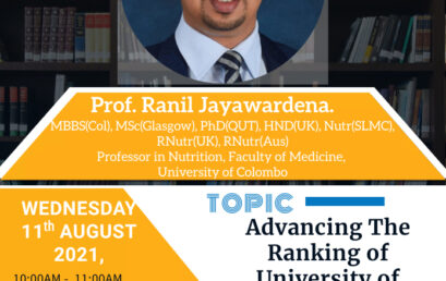 """Webinar : """" Advancing the Ranking of University of Colombo through Research"""""""