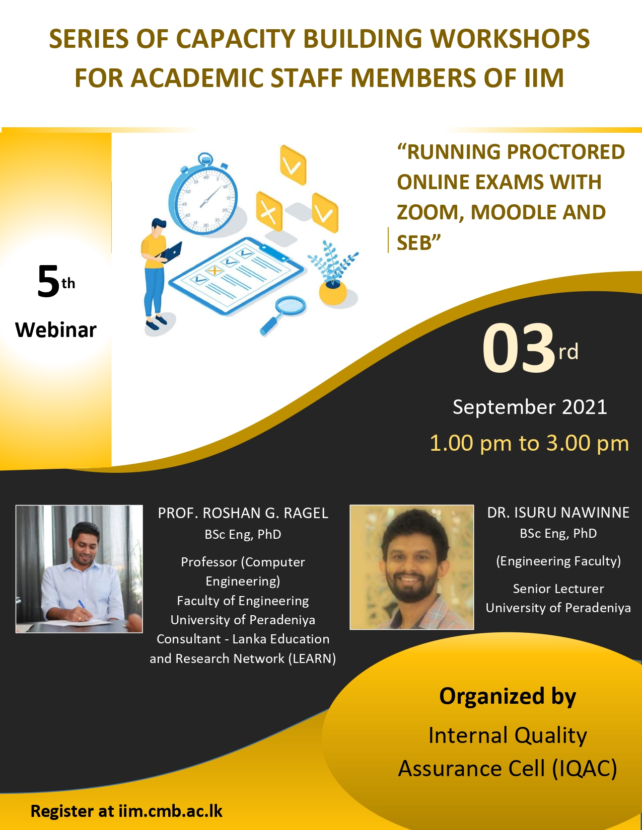 """WEBINAR :  """"RUNNING PROCTORED ONLINE EXAMS WITH ZOOM, MOODLE AND SEB"""""""