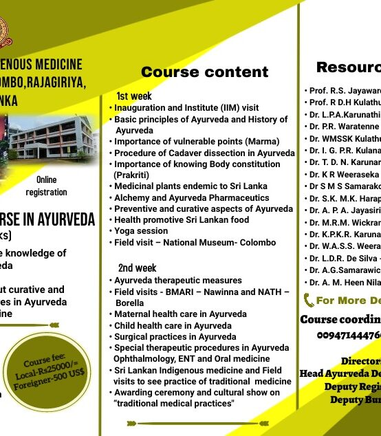 Application are invited for Introductory course in Ayurveda – December 2021